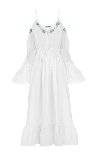 Medium flow the label white embroidered open shoulder dress