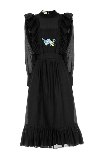 Medium flow the label black ruffle embroidered dress
