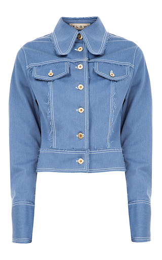 Medium flow the label blue denim bomber jacket