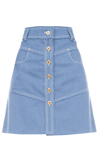 Medium flow the label blue front button denim skirt