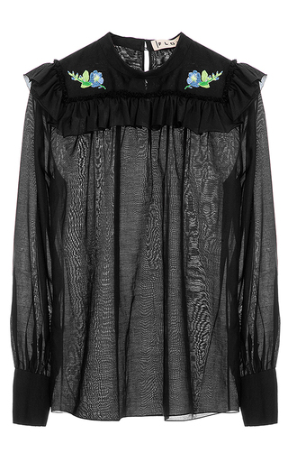 Medium flow the label black embroidered blouse