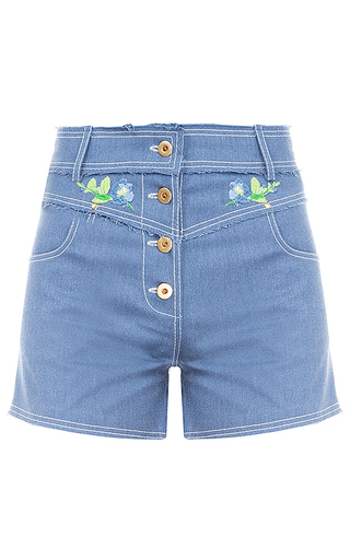 Medium flow the label blue denim embroidered shorts