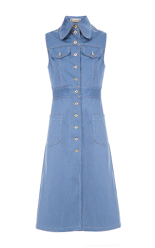 Medium flow the label blue structured long denim vest