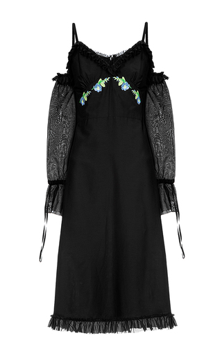 Medium flow the label black open shoulder ruffle dress