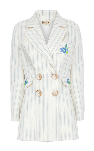 Medium flow the label stripe embroidered pinstripe jacket
