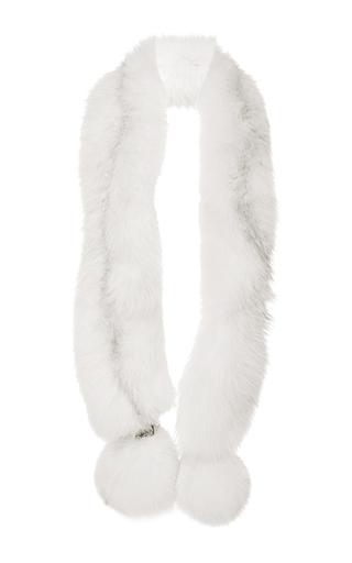 Medium georgine white white marble perforated fox fur boa with pom pom boa