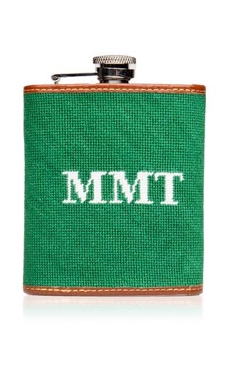 Medium tucker blair green m onogrammable needlepoint flask