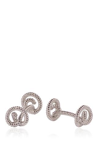 Medium rollo silver rhodium twisted knot cufflink