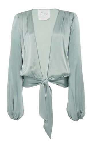 Medium awaveawake green silk charmeuse two tie blouse