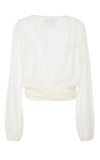 Medium awaveawake white two tie silk blend blouse