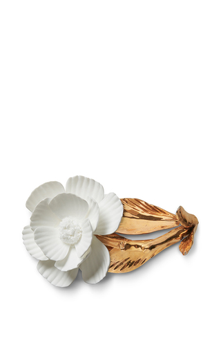 Medium aerin white porcelain gilded garden rose