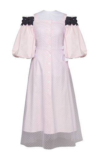 Medium marianna senchina pink puff sleeve cold shoulder ruffle dress