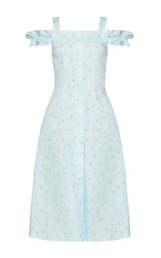 Medium marianna senchina blue ruffled cold shoulder robe dress