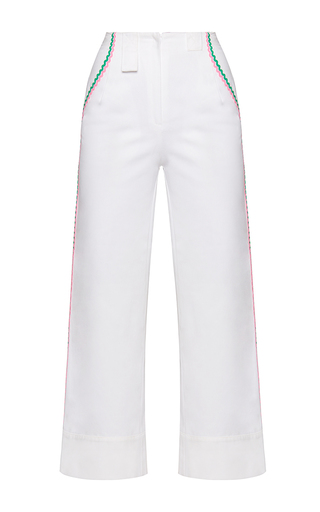 Medium marianna senchina white high waist cropped contrast denim pants