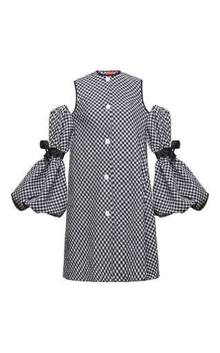 Medium marianna senchina black white balloon sleeve cold shoulder shift dress