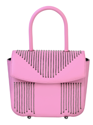 Medium pramma italia pink smooth rubberized calf leather with tiny chain embroidery pull release lock mechanism and detachable calf shoulder strap