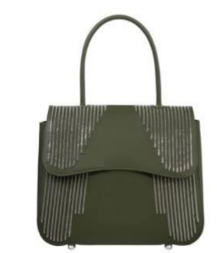 Medium pramma italia green smooth rubberized calf with tiny chain embroidery pull release lock mechanism