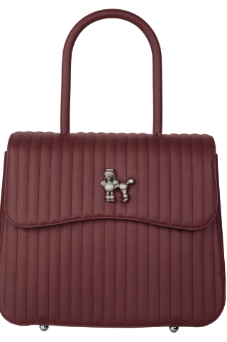 Medium pramma italia burgundy quilted smooth rubberized calf with poodle turning lock detachable calf shoulder strap