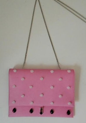 Medium pramma italia pink small clutch in pink rubberized calf with black onyx white jade embroidery tiny chain strap