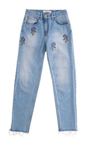 Medium ksenia schnaider blue floral embroidered light wash denim jeans