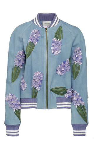 Medium giuseppe di morabito blue floral embroidered bomber jacket