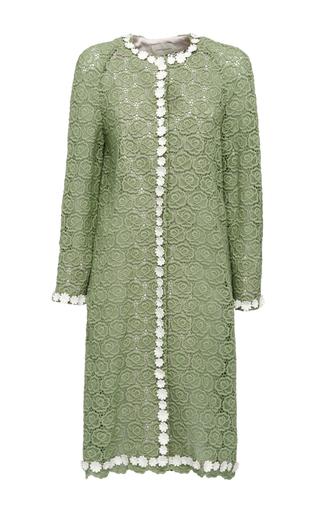 Medium giuseppe di morabito green macrame and floral finishings coat