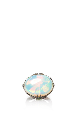 Medium lydia courteille white round opal ring