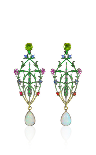 Medium lydia courteille multi opal and peridot drop earrings