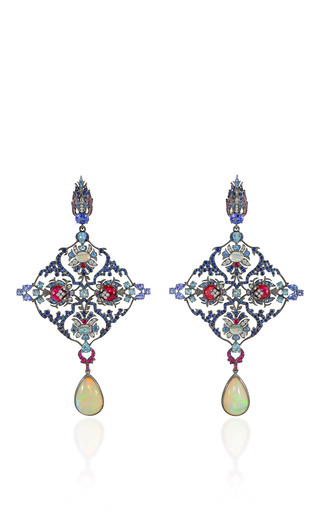 Medium lydia courteille blue opal and spinel drop earrings