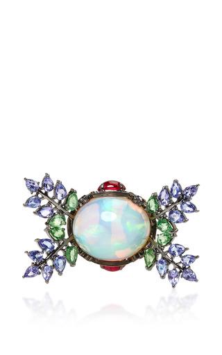 Medium lydia courteille blue opal flower ring