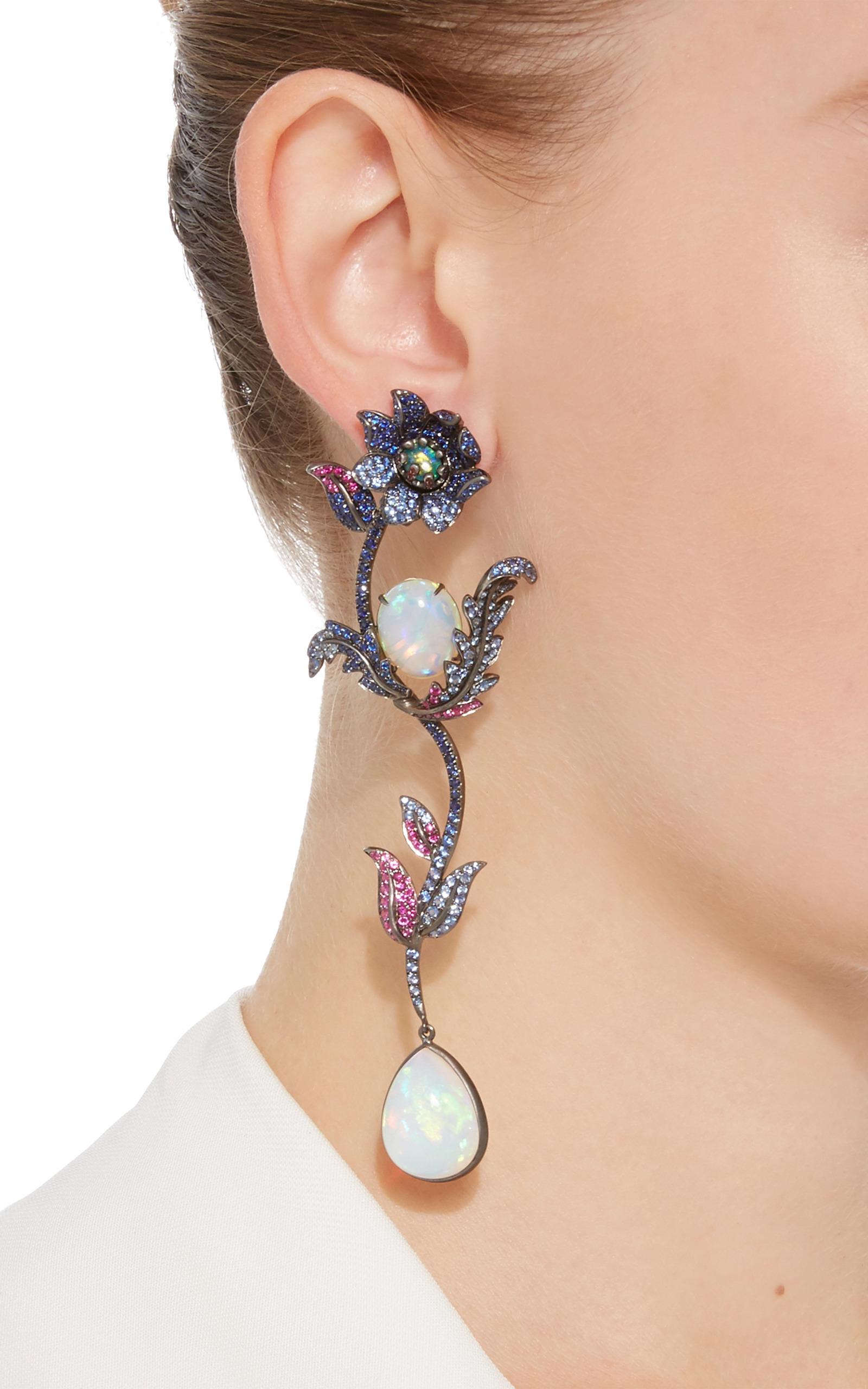 57061f9ac9886c Flower Drop Earrings by Lydia Courteille | Moda Operandi