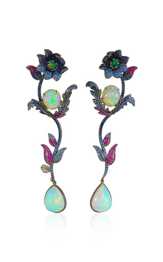 Medium lydia courteille multi flower drop earrings