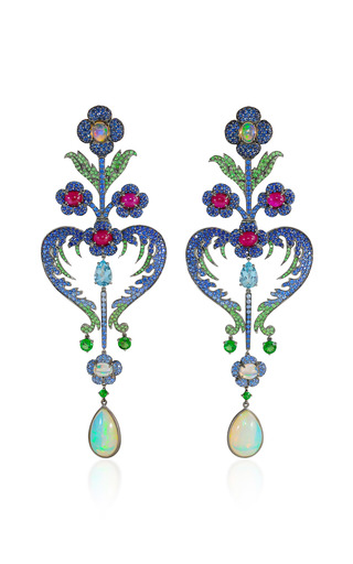 Medium lydia courteille blue floral earrings