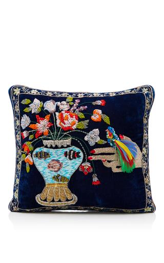 Medium ines figaredo navy hand embroidered cushion bag