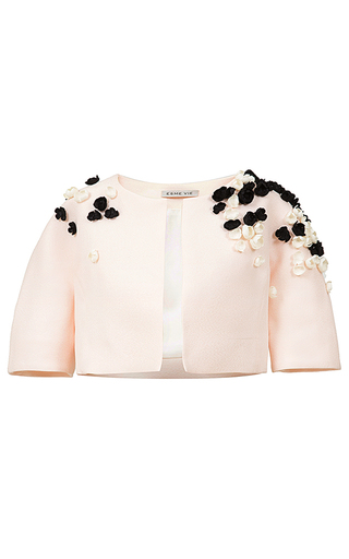 Medium esme vie pink licorice floral applique cropped jacket