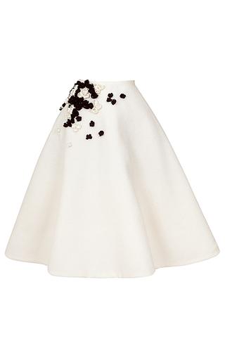 Medium esme vie white wave a line floral applique skirt