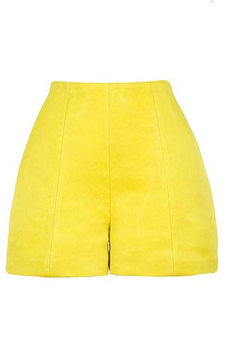 Medium esme vie yellow carambola high rise silk shorts