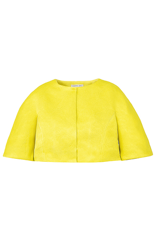 Medium esme vie yellow carambola cropped silk jacket