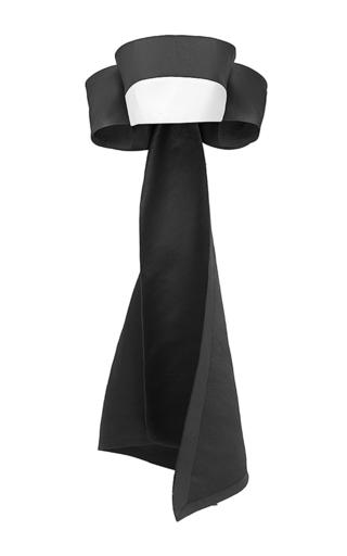 Medium esme vie black color block bow cropped blouse