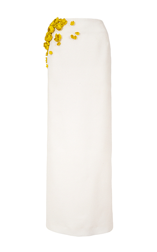 Medium esme vie white zeste floral applique column skirt