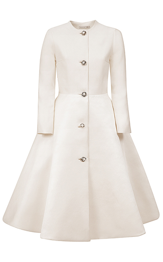 Medium esme vie white flower pearl silk coat