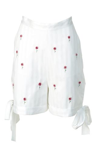 Medium anouki white stripe embroidered shorts