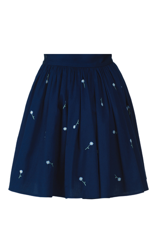 Medium anouki blue light denim embroidered mini skirt