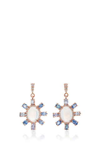 Medium eden presley blue rainbow moonstone earrings