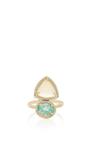 Medium eden presley blue opal and apatite ring