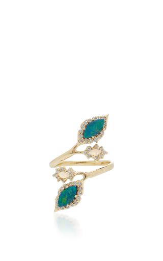 Medium eden presley blue two leaves open finger ring