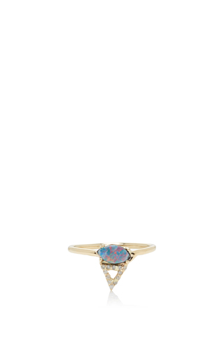 Medium eden presley blue 14k yellow gold opal and shadow triangle ring