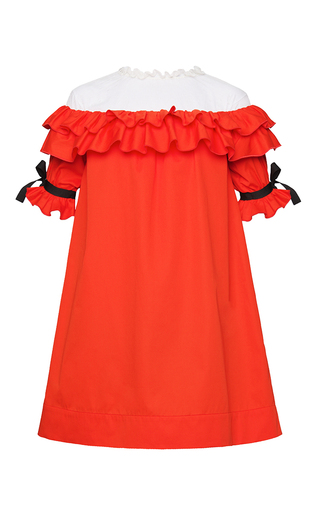 Medium marianna senchina red ruffled net shoulder dress