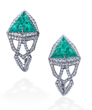 Medium arunashi green emerald and diamond earrings