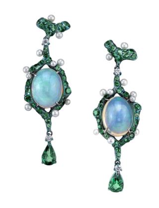 Medium arunashi blue opal and tsavorite earrings